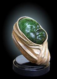 Georg Schmerholz. Sculptured Jade and Bronze 'Babyshaka'